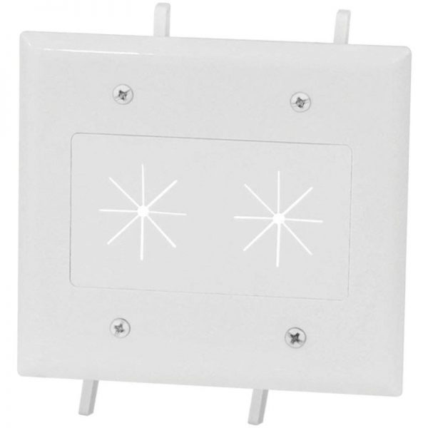 2-Gang Cable Plate with Flexible Opening (White) (White)