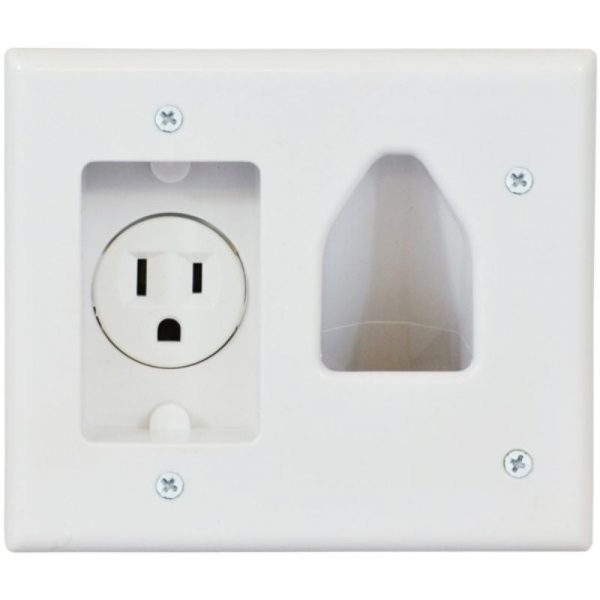 2-Gang Recessed Low-Voltage Cable Plate with Recessed Power (White) (White)