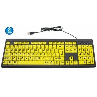 2 Big & Bright EZ See Keyboard High Contrast Yellow with Black Oversized Letters - Visually Impaired Keyboard (Keyboard)